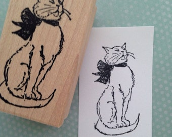 Babette Cat Wood Mounted Rubber Stamp 2103