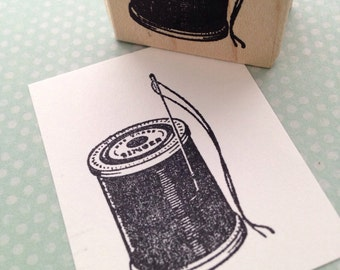 Spool of Singer Thread Wood Mounted Rubber Stamp 3699