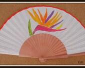 MTO HAND HELD Fan Tropical Flowers Hawaii Bird of Paradise Flamenco Folding Fan from Spain Made to order