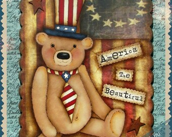 E-PATTERN -  It's Ted E. Bear!! Primitive little Bear Celebrating America!! Designed & Painted by Sharon Bond