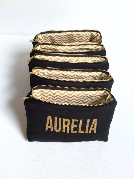 Six personalized name makeup bags black by