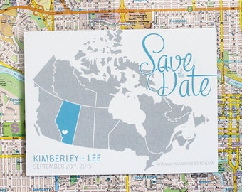Map of Canada Save the Date (Choose your colours and Province) - Sample