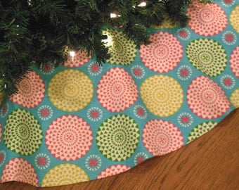 "Christmas Tree Skirt, Turquoise Christmas Decor, Pink Green Xmas Decoration, Contemporary Tree Skirt,  44"" Diameter - ON SALE"