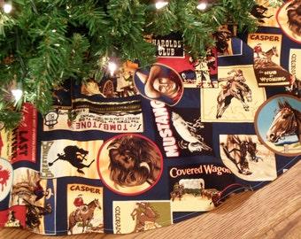"ON SALE Western Christmas Tree Skirt, Cowboy Kitsch, Old West Christmas, Wyoming, Colorado, Western Decoration  42"" Xmas Tree Skirt"