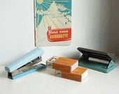 Vintage Stapler with Staples and Paper Punch. Light Blue, Grey, Green. Made in USSR