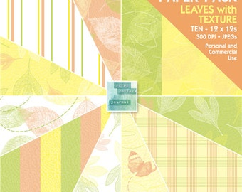 Leaves with Texture - Digital Paper Pack - INSTANT DOWNLOAD - for Invites, Scrapbooking, Cards, Invites, Journaling, Collage, Crafts, More