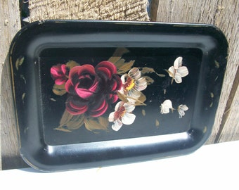 Vintage Shabby and Chic  Black  Metal Tole Tray Rose/Floral 4 1/2 x 6 1/2 in.