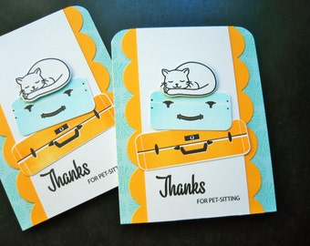 Card for Pet Sitter, Pet Sitting Thank You Card, Cat Sitter Thank You Note