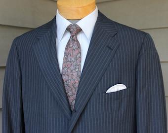 vintage 1973 -Brooks Brothers- Men's 2 piece suit. 'Special Order' Blue Pinstripe. Darted - 3/2 roll - Natural shoulder. 40 Reg. x 34 Waist