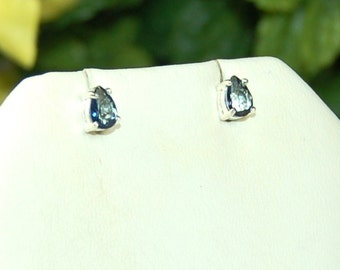 Mystic Topaz Earrings, Midnight Blue, Elegant Teardrops, Sterling Silver, Blue Mystic Topaz, Mystic Topaz Studs