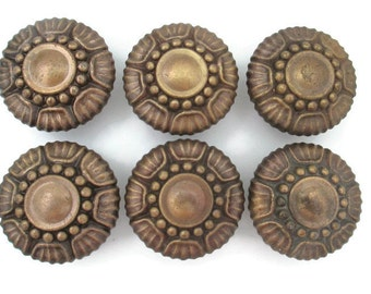 Lots of 6 Heavy Vintage Ornate Drawer Knobs -Large brass furniture pulls handles single screw - More Available