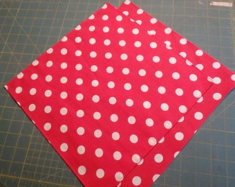 Red Luncheon Napkins, Polka Dot Party Napkins, Cocktail Napkins, Lunchbox Napkins, Retro Napkins, Rosie the Riveter Party, Hostess Gifts