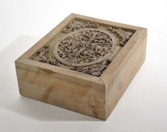 Vintage Carved Wood Box Ornate Design