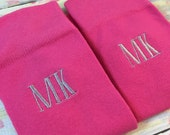 Bright Pink Mens Monogram Socks - Crew Length - Groomsmen Gift - grooms gift - wedding socks - mens dress socks - Hot Pink