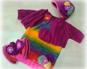 baby dress - knitted dress - colorful dress - baby jacket - bordeaux jacket - baby set - knitted set - girls set - girls clothes - winter