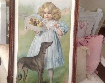 Beautiful Old Greyhound Little Girl Framed Art