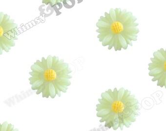 10 - Light Green Small Gerber Daisy Sunflower Resin Cabochons, Daisy Cabochons, Sunflower Cabochons, Flower Cabochons, 13mm x 4mm (R8-188)