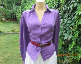 Silk Blouse Vintage / Buttoned / Plum / Violet / Size EUR 44 / 46 / UK16 / 18