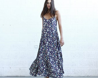 Flare Maxi dress, Floral Blue