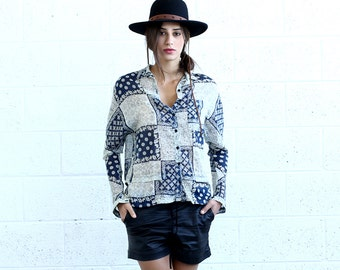 Button Down Shirt, Patchwork Print