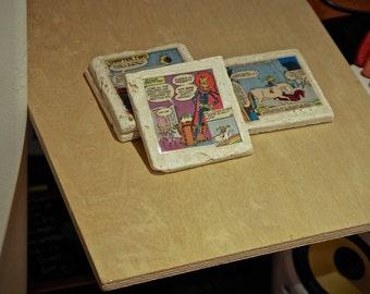 Rainbow Brite Coasters Set of 4 recycled vintage comics eighties cartoon 80's tv show comics geeky gift home decor furniture evil princess