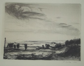 Listed Art Artist Czoka Etching Country Landscape 1940's Print