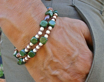 Men's Bracelet and Convertible Necklace with Semi Precious Turquoise, Brass and Wood Beads - Hippie Man Double Strand Bracelet - Free Spirit