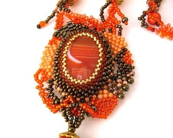 Long beaded necklace, Statement necklace, seed bead jewelry, Orange brown necklace, handmade jewelry