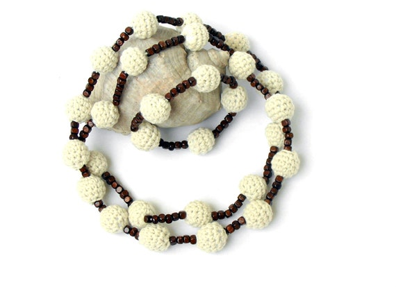 Popcorn Crochet Beads Necklace and Bracelet Jewelry Set in Ecru and Dark Brown