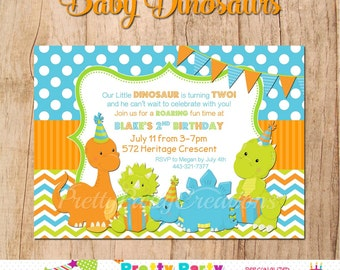 BABY DINOSAURS party invite YOU Print