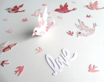 Love Bird Confetti, Wedding Decor, Garden Party, Bridal Shower Decor, Unique Layered Bird Confetti, Baby Shower Decor, 3D Paper Birds