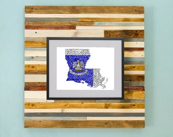 Louisiana Parish Map - Hand Drawing