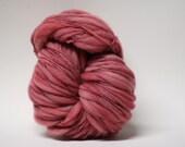 Hand Spun Thick and Thin Merino Wool Yarn Slub  Hand Dyed tts(tm) Bulky Hibiscus 01