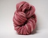 Hand Spun Thick and Thin Merino Wool Yarn Slub  Hand Dyed tts(tm) Bulky Hibiscus 02