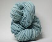 Handspun Wool Thick and Thin Merino Yarn Slub  Hand Dyed tts(tm) Bulky Steel Blue 01