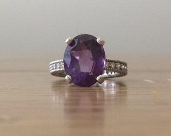Amethyst Ring - White Gold Amethyst Ring - Diamond Amethyst Ring - February Birthstone Ring - Large Gemstone Ring