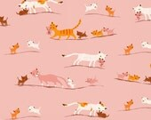 2.25 YARDS Tiger Lily LAWN Marching Cats in Pink, Heather Ross, Windham Fabrics, 100% Cotton Lawn Fabric, 40935-1
