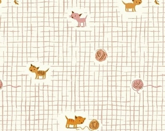 Tiger Lily Kittens and Yarn in Pink, Heather Ross, Windham Fabrics, 100% Cotton Fabric, 40929-1