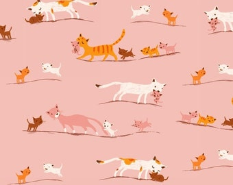 Tiger Lily LAWN Marching Cats in Pink, Heather Ross, Windham Fabrics, 100% Cotton Lawn Fabric, 40935-1
