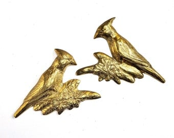 Pair of Brass Cardinal Wall Hangings