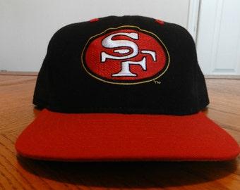 vintage San Francisco 49ers snapback Hat 80s 90s Script hip hop hipster cap Niners NFL wool New Era