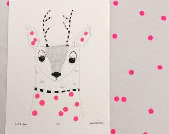 Kids Wall Art, Deer Print - Limited Edition 8x10 Print by Jennie Deane
