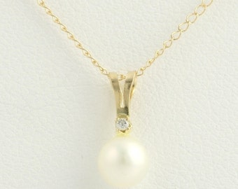 "Pearl Pendant Necklace 18""- 10k Yellow Gold Cable Freshwater Diamond F2921"