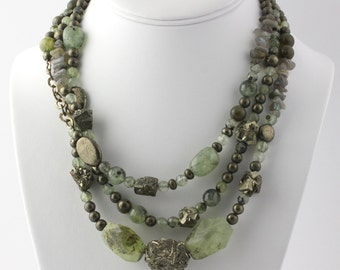 Beaded Green Gemstone Necklace - Sterling Silver Prehnite Pyrite Labradorite c9927
