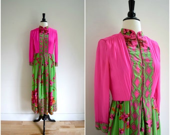 Vintage bohemian pink and green long sleeved silk dress with floral print / sheer chiffon sleeves romantic dress