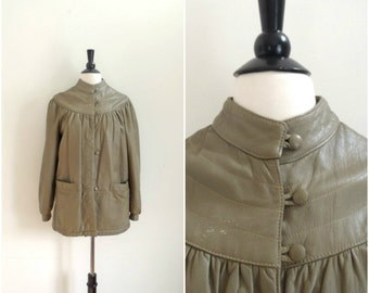 Vintage light brown Italian leather swing coat / Mario Conti / long beige leather jacket