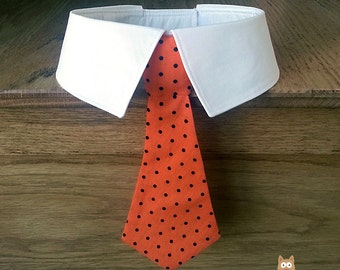 Removeable Dog Neck Tie or Dog Bow Tie and Collar, Orange with Black Polka Dots Design