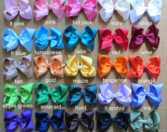 Set of 40 pcs 4 inch kid hair bows, hair bows for girls 46 colors to choose, attached with the ribbon 45mm single prong alligator clip