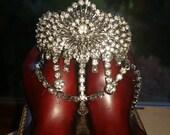 Hollywood Regal Rhinestone cuff bracelet. Golden Age jewelry.bling cuff bracelet.Liz Taylor Bling