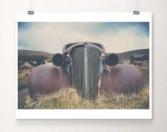 vintage car photograph bodie ghost town photograph bodie photograph california photograph mountains photograph red car print